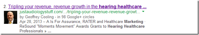Google Author in audiology marketing